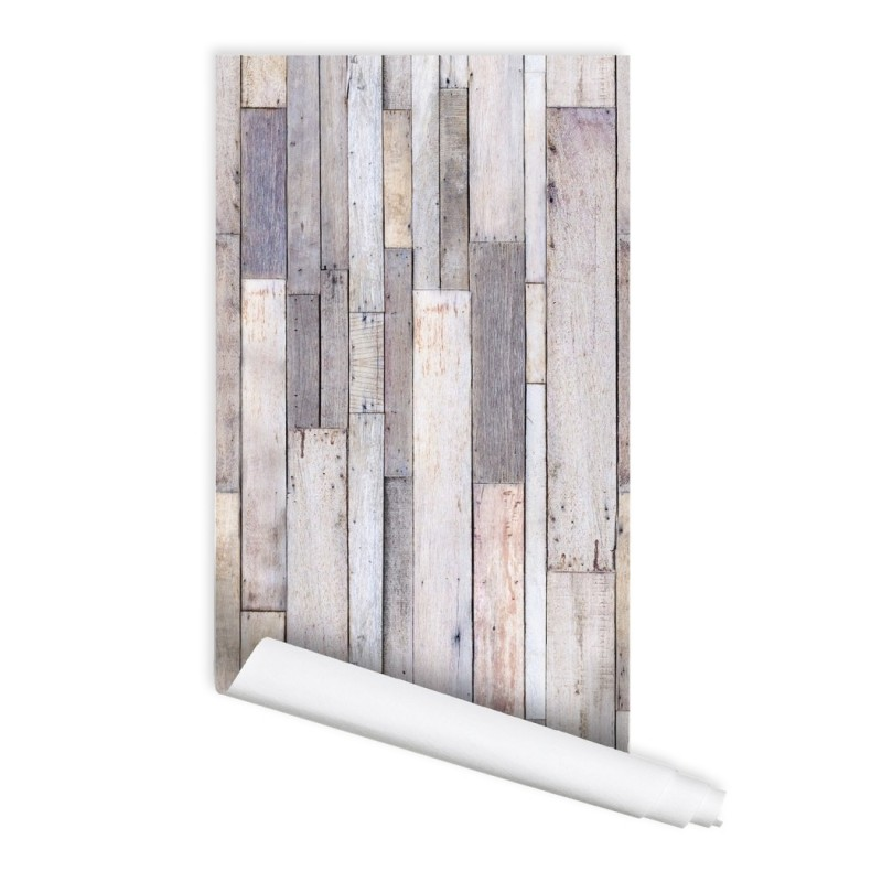 Wood Plank texture Tamarack Self adhesive Peel & Stick Repositionable Fabric Wallpaper