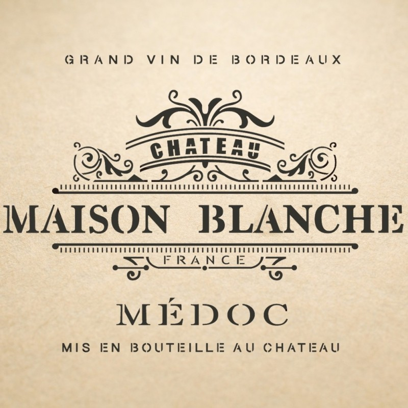 Maison Blanche Label Stencil for Vintage Art DIY Crafts and Wall Decor Painting