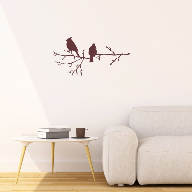 Winter Birds on Branch, Vinyl Wall Stickers for Modern Wall design for Home Decor Art