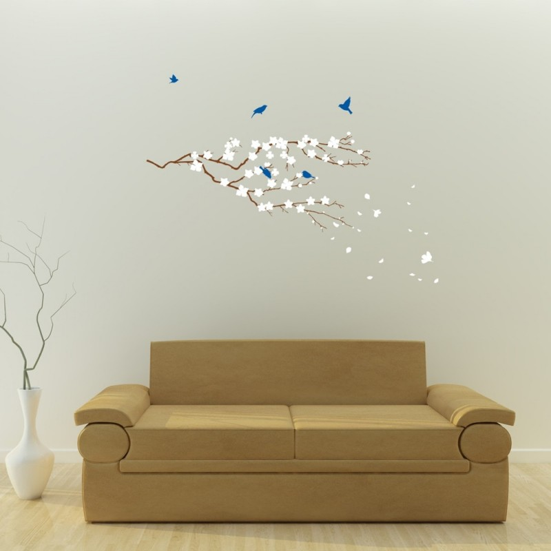 Cherry Blossom Tree Branch With Birds Vinyl Wall Stickers For Modern Design Home Decor Art