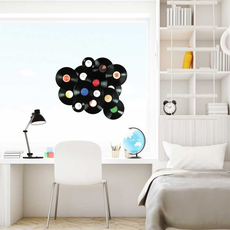 Vintage Vinyl Records Wall Sticker Peel And Stick Wall Decal For