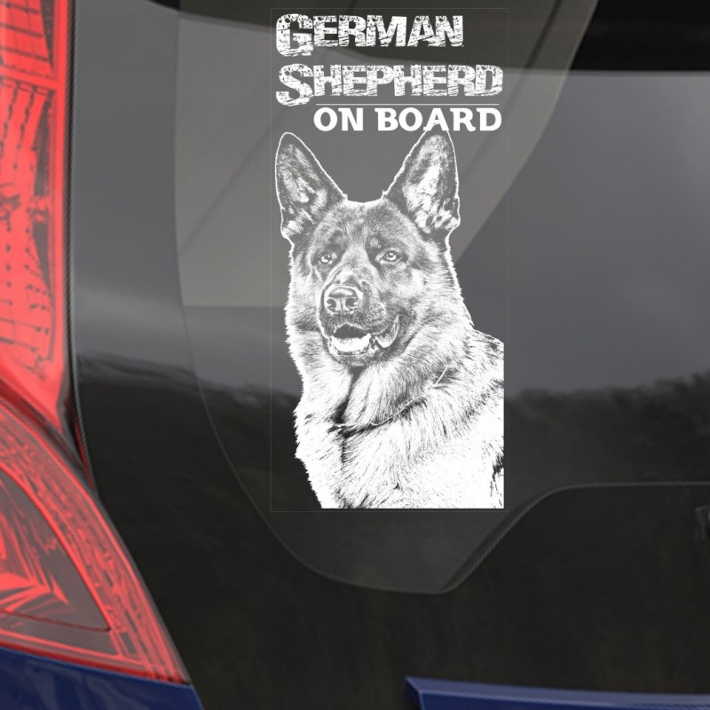 Car Window Sticker, German Shepherd Clear Vinyl Decal On Board for Art Print Dog Sign