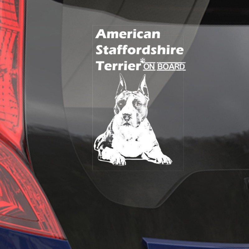 Car Window Sticker, American Staffordshire Terrier Clear Vinyl Decal On Board for Art Print Dog Sign