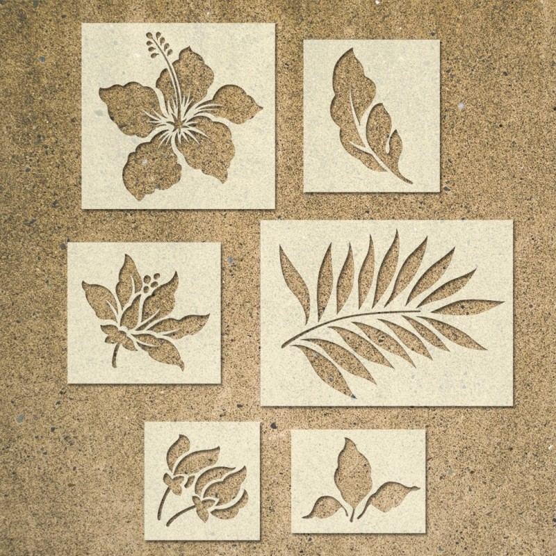 Tropical Flower Stencils Template - Pack of 6 - Ideal for Painting Wood Signs DIY Decor