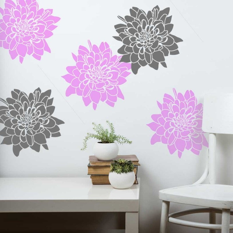 Chrysanthemum Flower Wall stencil - Wallpaper look for DIY Home projects