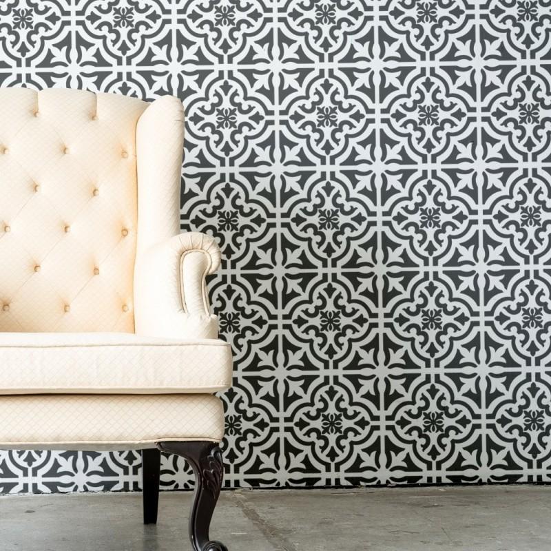 Tile Stencil Rio Tinto - Portuguese Tile Wall Stencils - Geometric