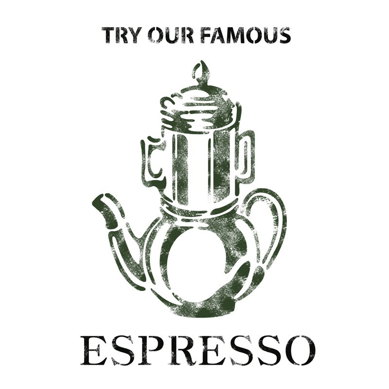 Espresso Stencil Template For Crafting Canvas DIY decor Wall art furniture