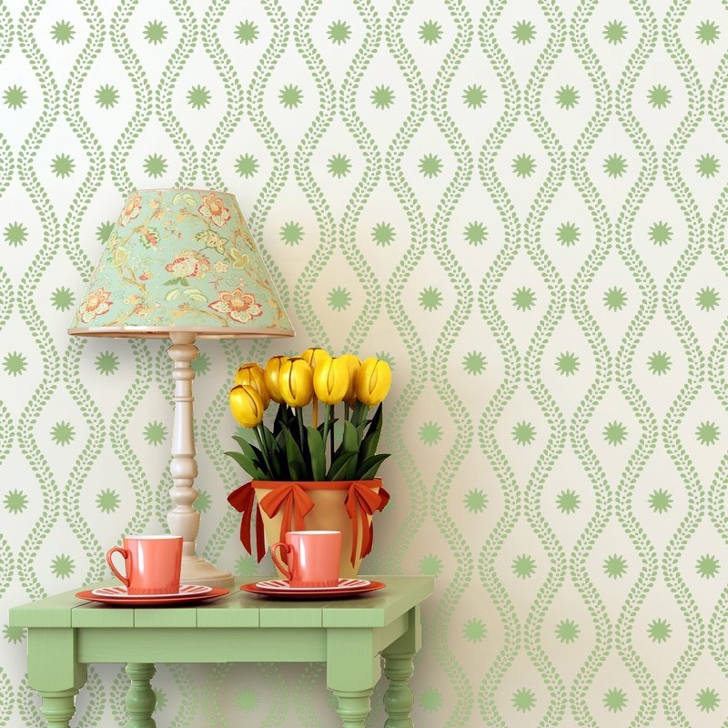 Geometric Stencil Madeleine - Allover stencils for walls and fabric DIY decor