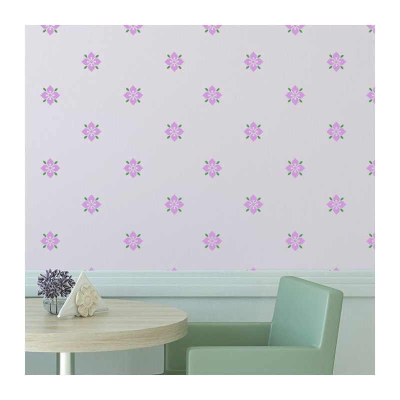 Flower Stencil Pattern Zuri Reusable allover stencils better than Wallpaer Decal