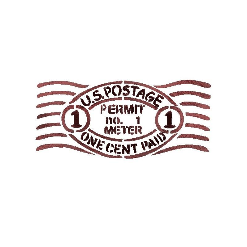 """WALL STENCILS PATTERN 9.05""""x6.49"""" Airbrush STENCIL TEMPLATE U.S. stamp"""