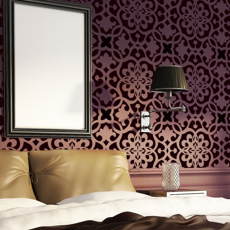 Moroccan Trellis Wall Allover Stencil Pattern Bonnie for Modern Wall Deco