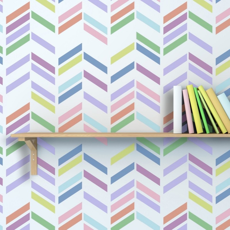Herringbone Shuffle Allover Wall Stencil Rive for DIY Wall Decoration