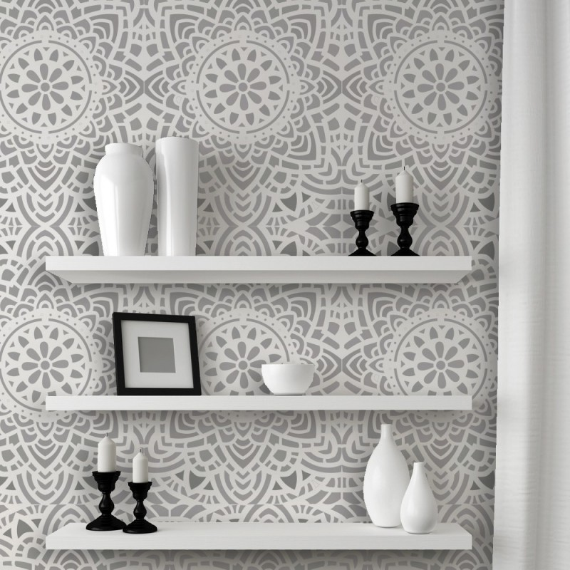 Wall Lace Decorative Stencil Madalyn Allover Reusable for DIY Wall Decor