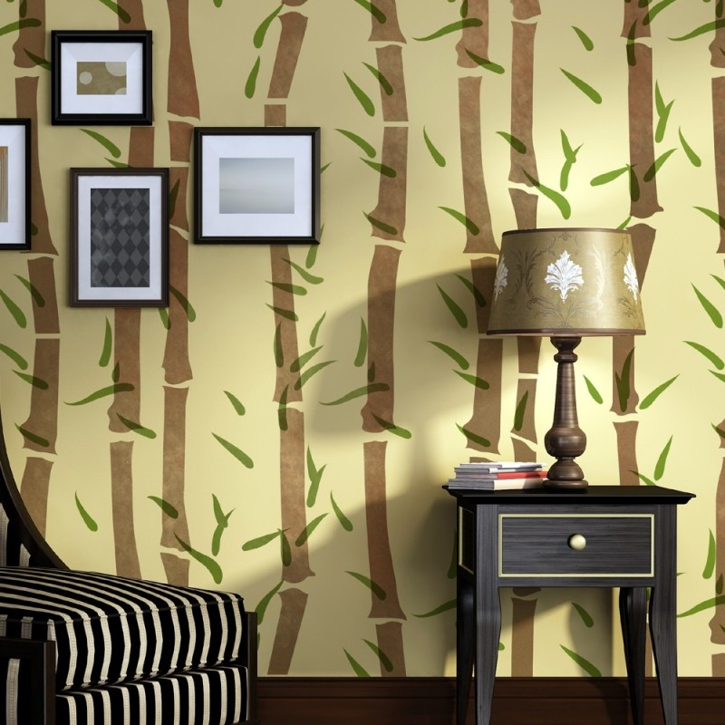 Wall Bamboo Stencil, Allover Template instead of wallpaper for ...