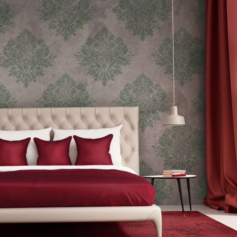 Wall Stencil Large Damask Template Rachelle for Elegant Wallpaper Look
