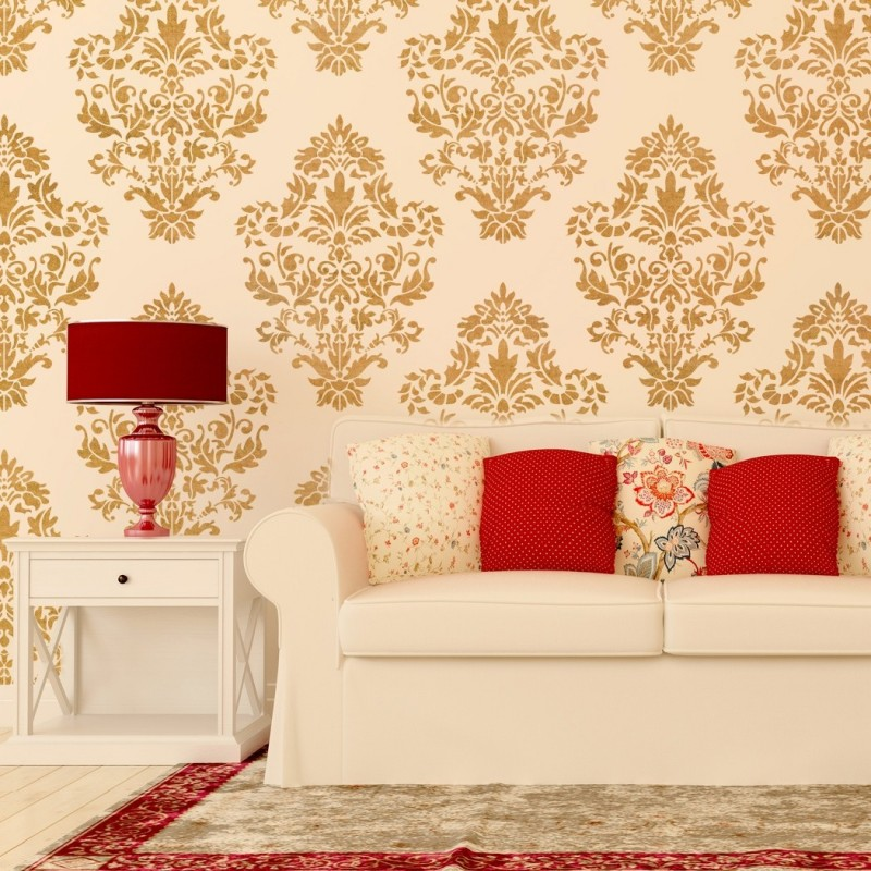 Damask Wall stencil pattern Ludovica for DIY Home decor, Wallpaper Look