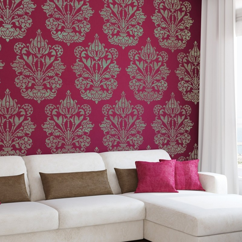 Large Wall Stencil Damask Allover Heather For Easy Diy Decor