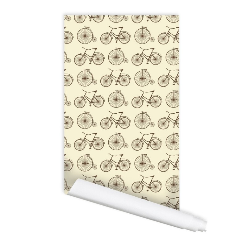 Retro Bicycle Pattern Peel & Stick Repositionable Fabric Wallpaper