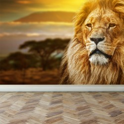 Wall Mural Lion on savanna,...