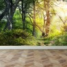 Wall Mural Walk through the woods, Peel and Stick Repositionable Fabric Wallpaper for Interior Home Decor
