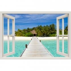 Window Frame Mural Beach on...