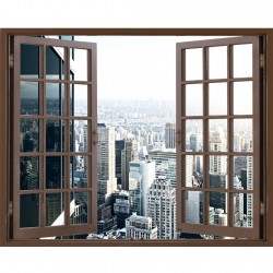 Window Frame Mural Office...