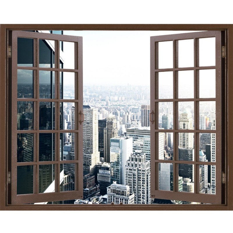 Window Frame Mural Office building - Huge size - Peel and Stick Fabric Illusion 3D Wall Decal Photo Sticker