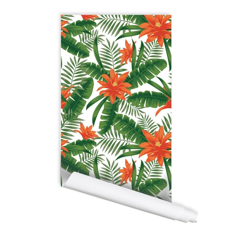 Tropical Plant Pattern Chloe Self Adhesive L And Stick Repositionable Fabric Wallpaper