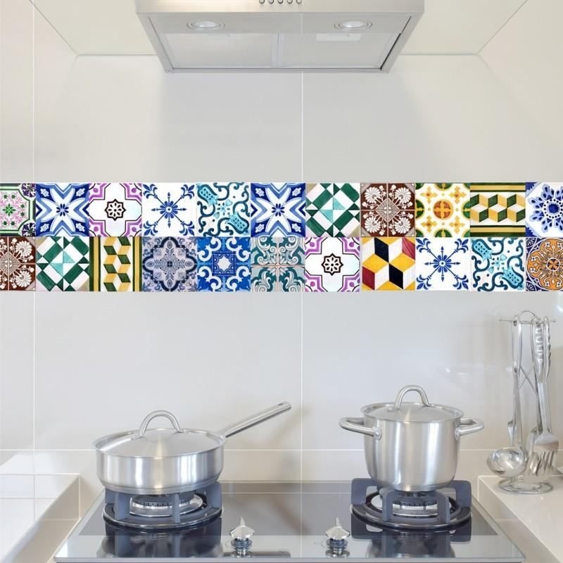 Portugal Tiles Stickers Wels - Set of 16 - Tile Decals for Backsplash bathroom Kitchen Home decor
