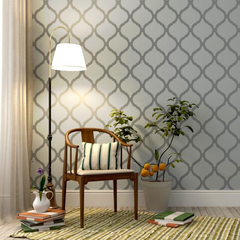 Wall Allover Reusable Stencil Savannah Trellis -set(2 sheets)- for DIY decor